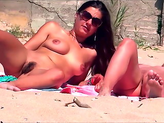 hairy, beach, public nudity, flashing, redhead, voyeur